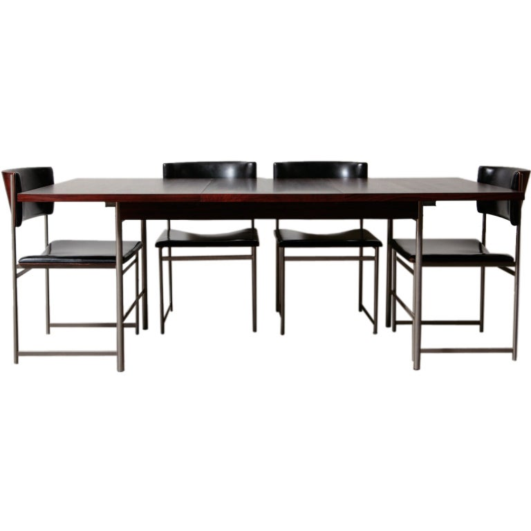 Rosewood And Brush Chrome Dining Set By Pastoe At 1stdibs