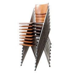 Set of 8 Wm. Rietveld Stacking Pyramid Chairs