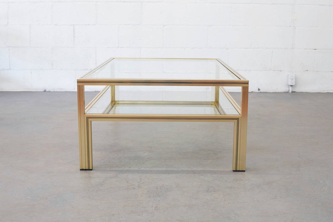 pierre vandel double layer glass coffee table at 1stdibs