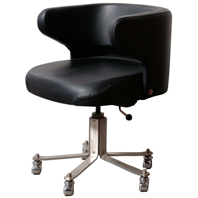 Forma Nova Leather Rolling Office Chair At 1stdibs