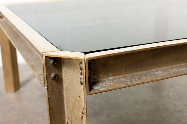 Mid Century Modern Brass And Glass Industrial Style Coffee Table For Sale