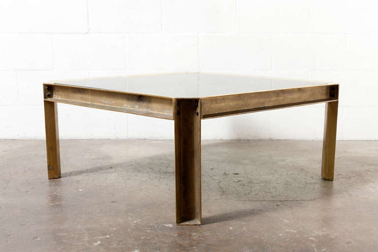 Brass And Glass Industrial Style Coffee Table Image 5