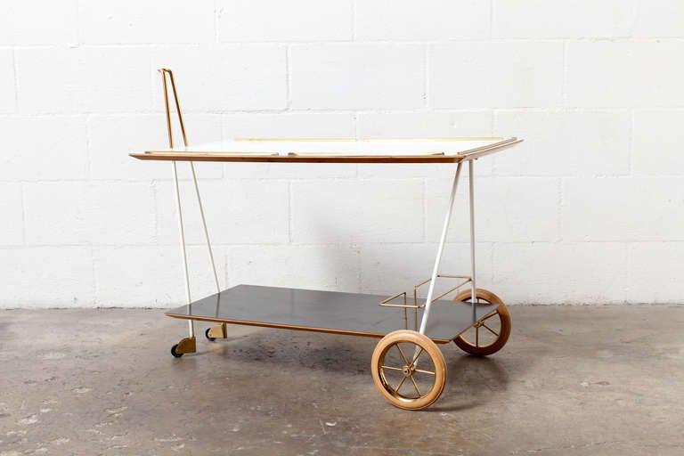 Mid-Century Modern Brass and Formica Rolling Bar Cart image 2