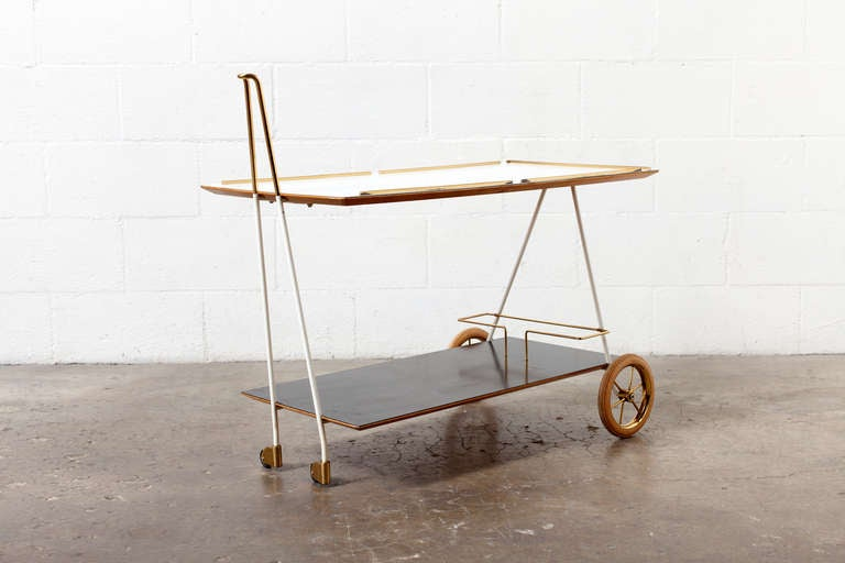Mid-Century Modern Brass and Formica Rolling Bar Cart image 3