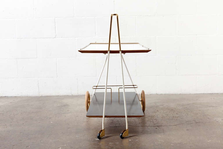 Mid-Century Modern Brass and Formica Rolling Bar Cart image 4