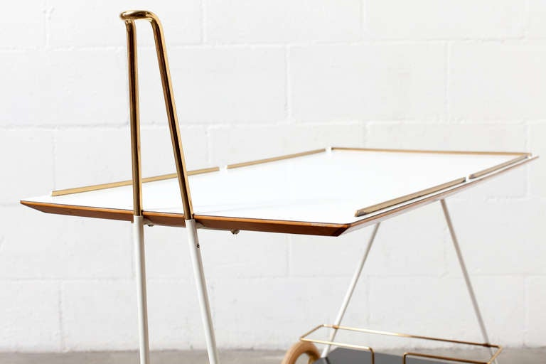 Mid-Century Modern Brass and Formica Rolling Bar Cart 5