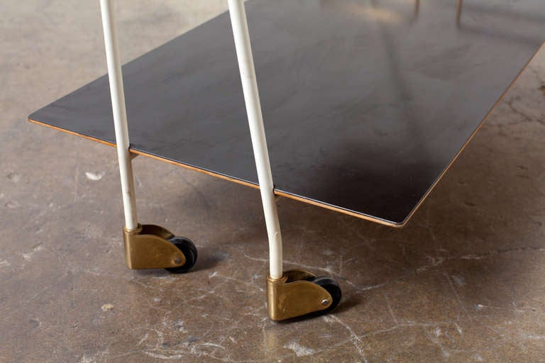 Mid-Century Modern Brass and Formica Rolling Bar Cart 6