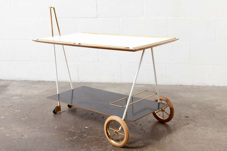 Mid-Century Modern Brass and Formica Rolling Bar Cart 8