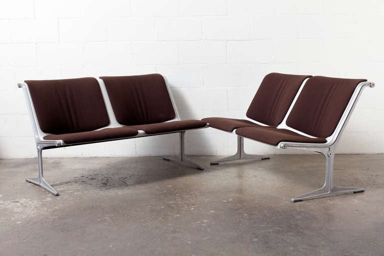 Polished Aluminum Two-Seater Bench with Original Brown Upholstery. This Famous Bench System was Designed by the Dutch Designer Friso Kramer but Manufactured by Wilkhahn (Germany) and in Production from 1968-1988. The Bench System Became Well-known