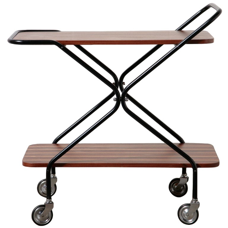 Mid Century Striped Teak Rolling Bar Cart At 1stdibs
