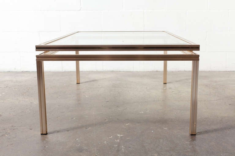 Coffee Table with Elevated Glass Top and Anodized Aluminum Frame. Paris 1970's