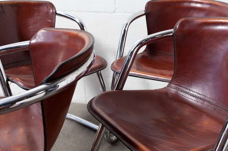 Mid-20th Century Set of 4 Leather and Chrome Dining Chairs For Sale