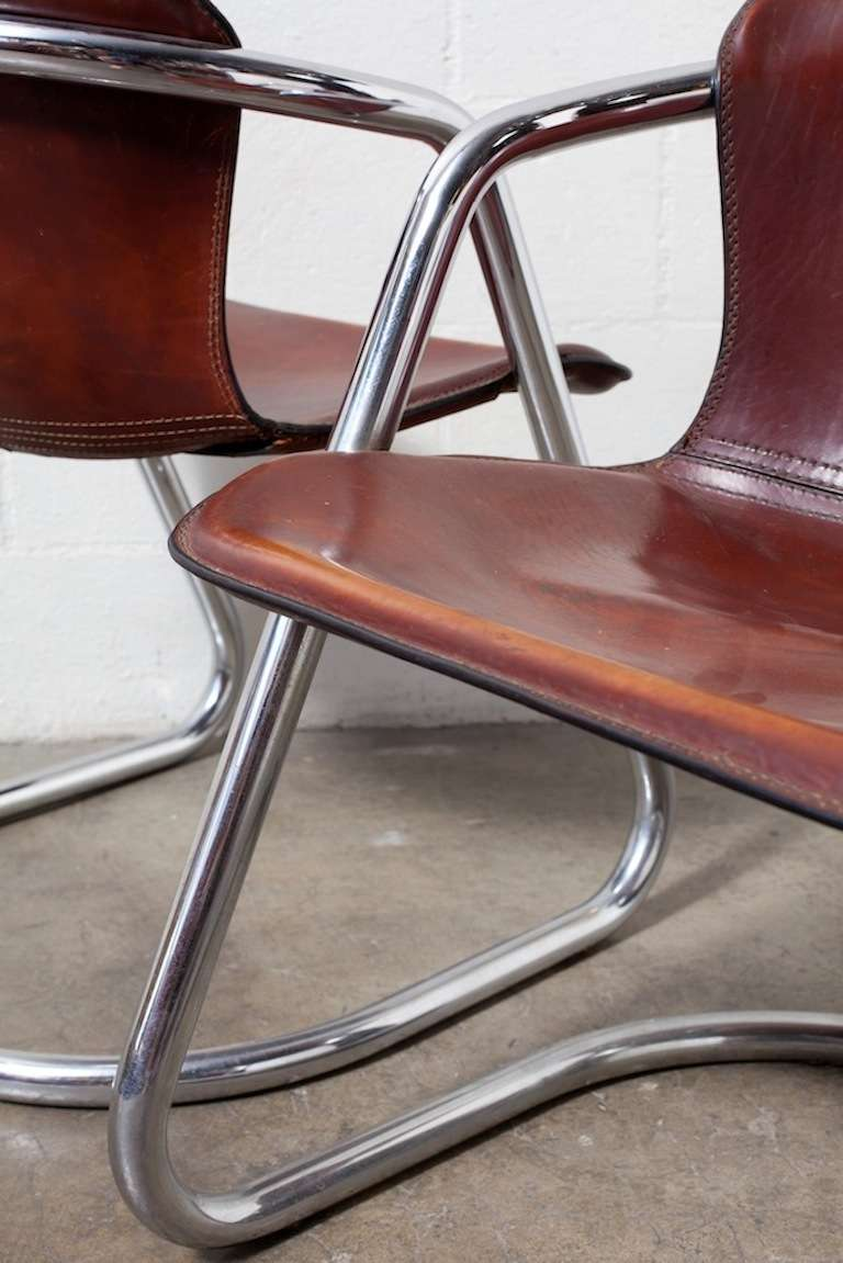 Set of 4 Leather and Chrome Dining Chairs For Sale 1