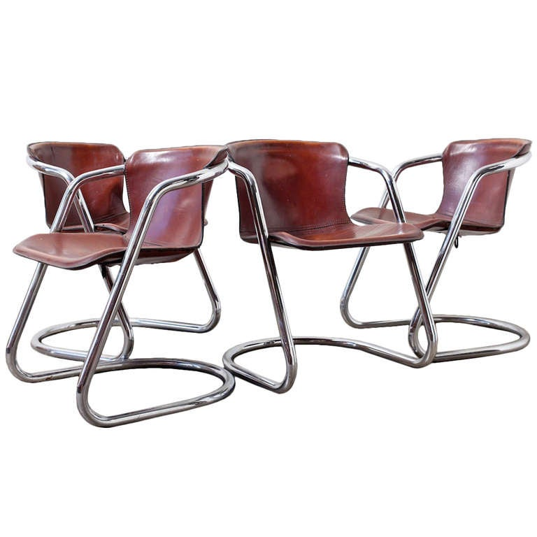 Set of 4 Leather and Chrome Dining Chairs For Sale