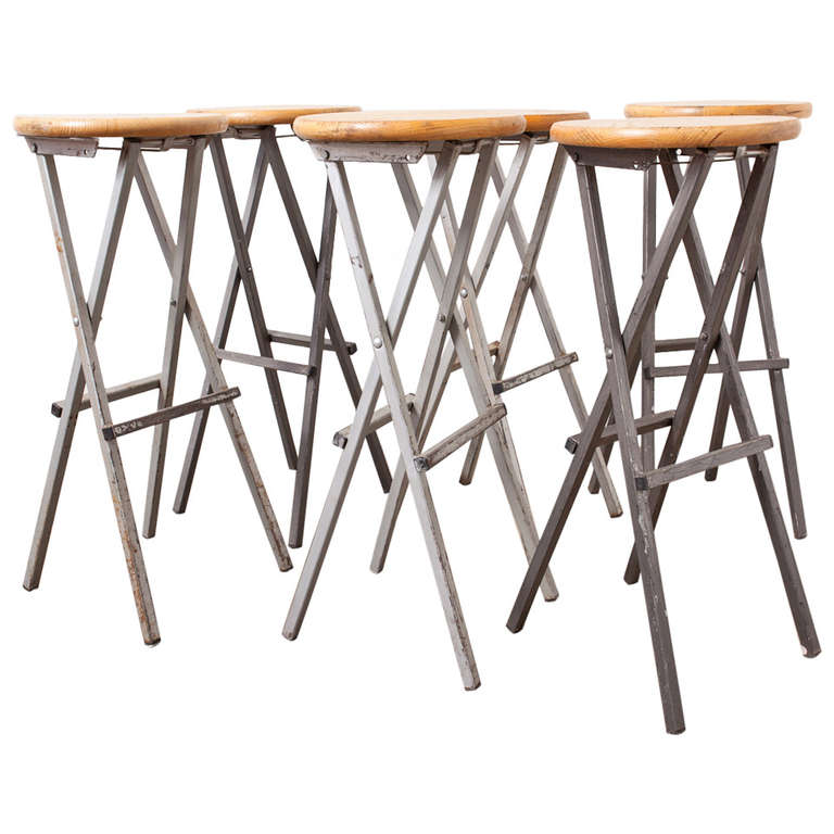 Metal and Birch Folding Bar Stools at 1stdibs