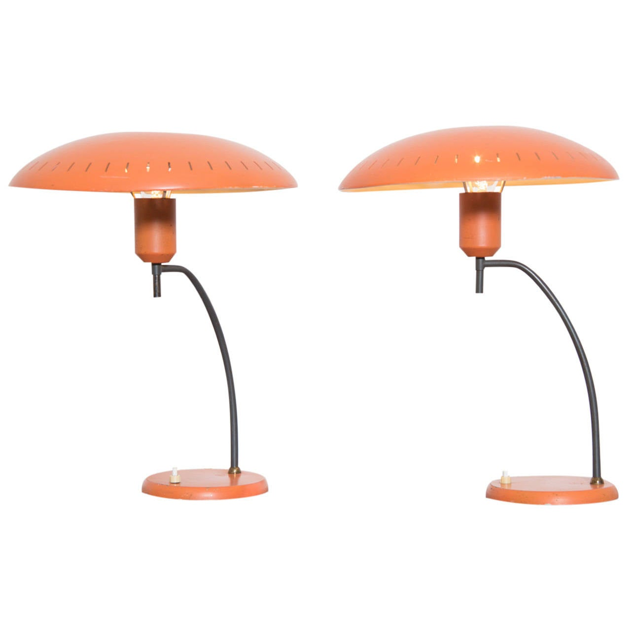 Pair of Salmon Louis Kalff Table Lamps for Philips