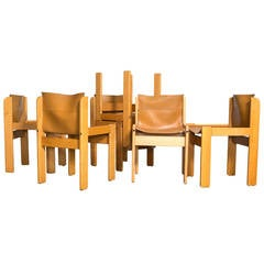 Set of Eight Italian Leather Sling Chairs by Ibisco
