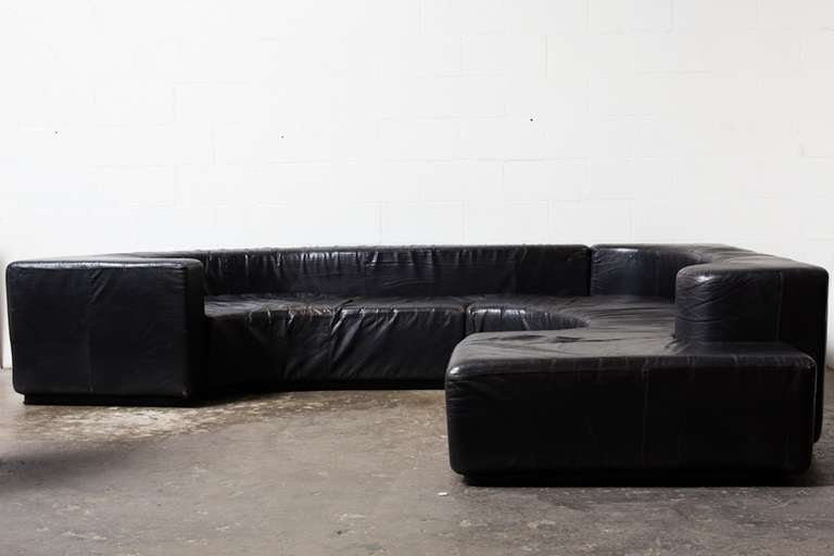 Mod Black Leather Quot Lara Stillwood Quot Sofa At 1stdibs