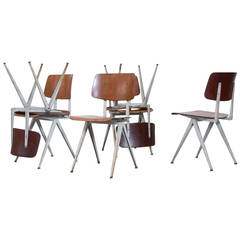 Set of 12 Prouve or Friso Kramer Style Plywood Industrial Chairs