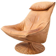 Gerard Van Den Berg Delantra Leather and Rattan Lounge Chair