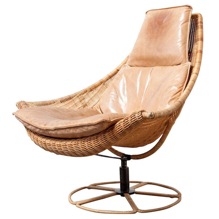 Gerard Van Den Berg Leather And Rattan Lounge Chair For Montis 1