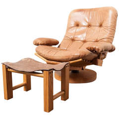 Gerard van den Berg Attributed to Fishbone Lounge Chair with Ottoman