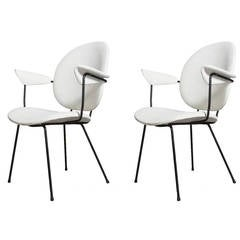 Pair of Kembo Arm Chairs with Black Wire Frame