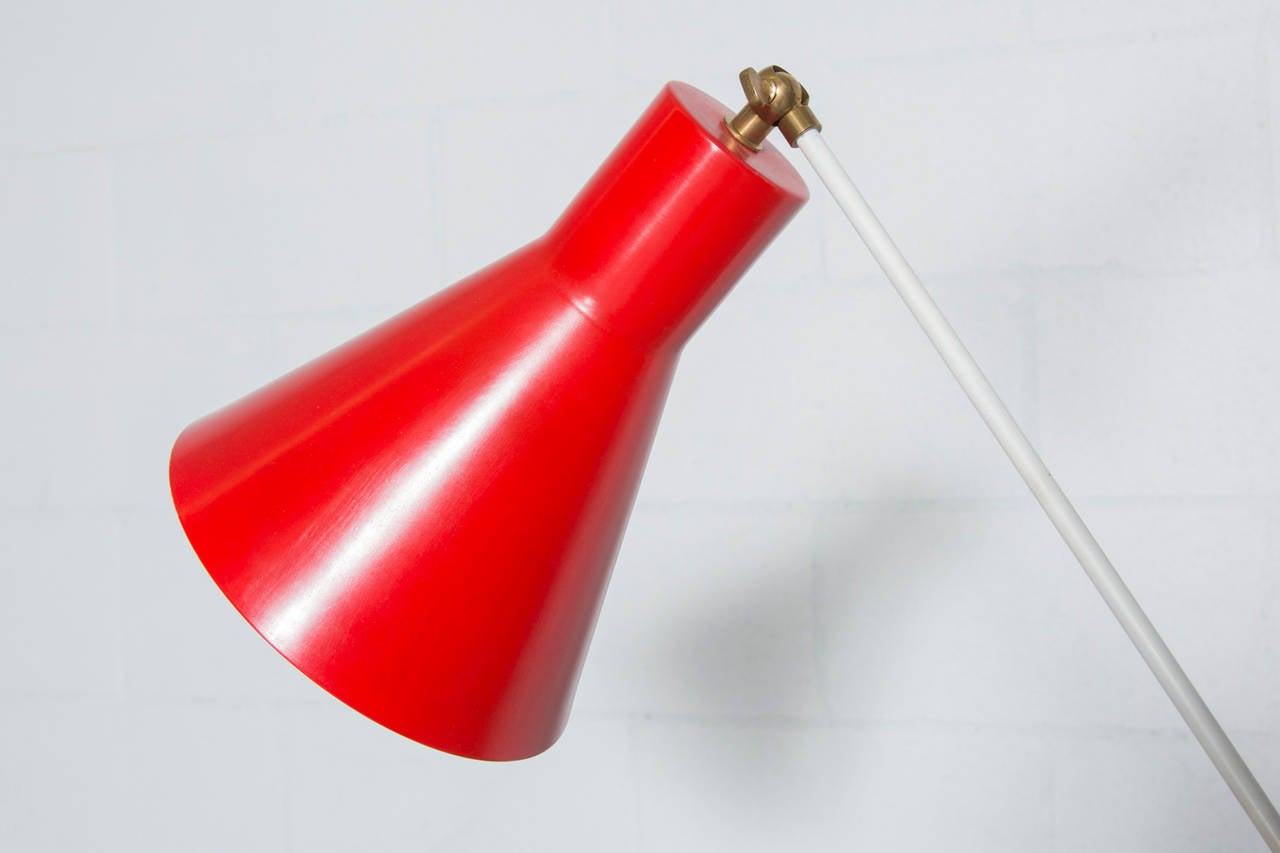 Hala Zeist Attributed Red And White Floor Lamp At 1stdibs