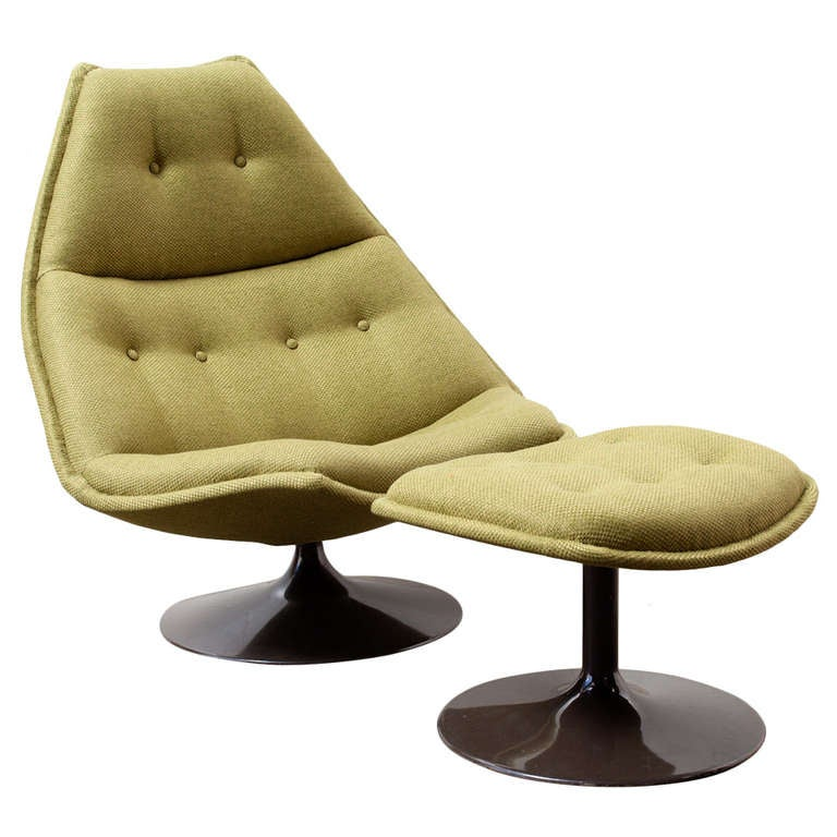 Geoffrey Harcourt For Artifort Swivel Lounge Chair with Ottoman at 1stdibs