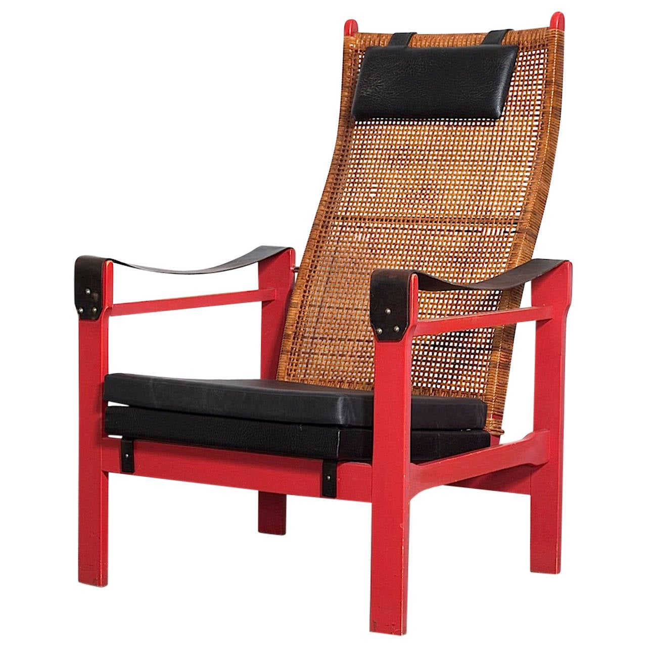 P J Muntendam Woven Rattan Lounge Chair with Leather