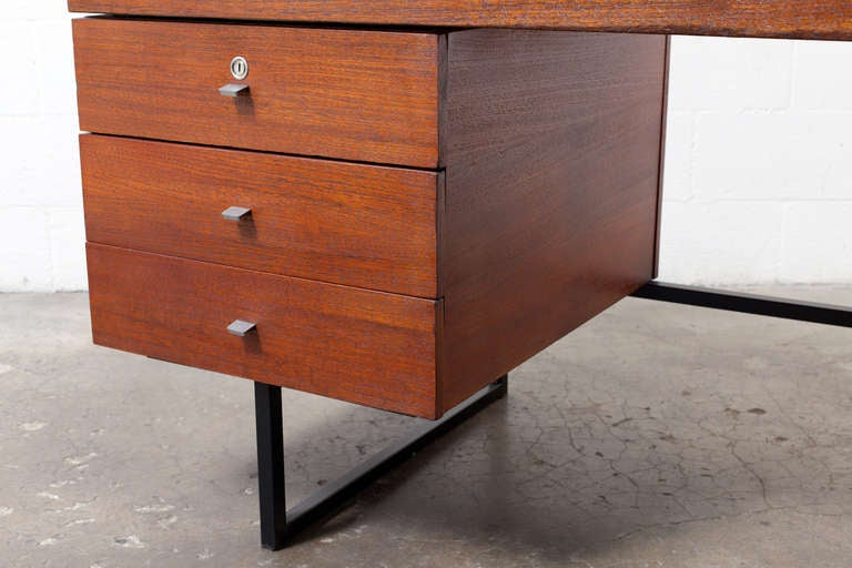Dutch Modern Writing Desk with Side Stacking Drawers at
