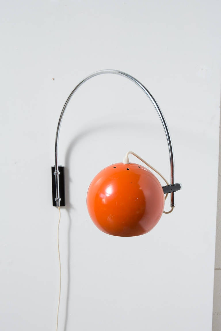 Orange Enameled, Metal Globe Wall Mount Arc Lamp at 1stdibs