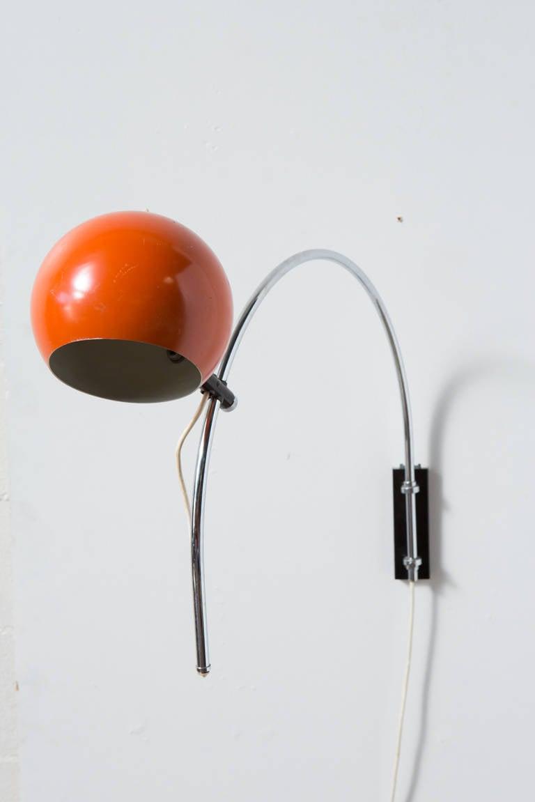 Wall Mounted Arc Lamp : Orange Enameled, Metal Globe Wall Mount Arc Lamp at 1stdibs