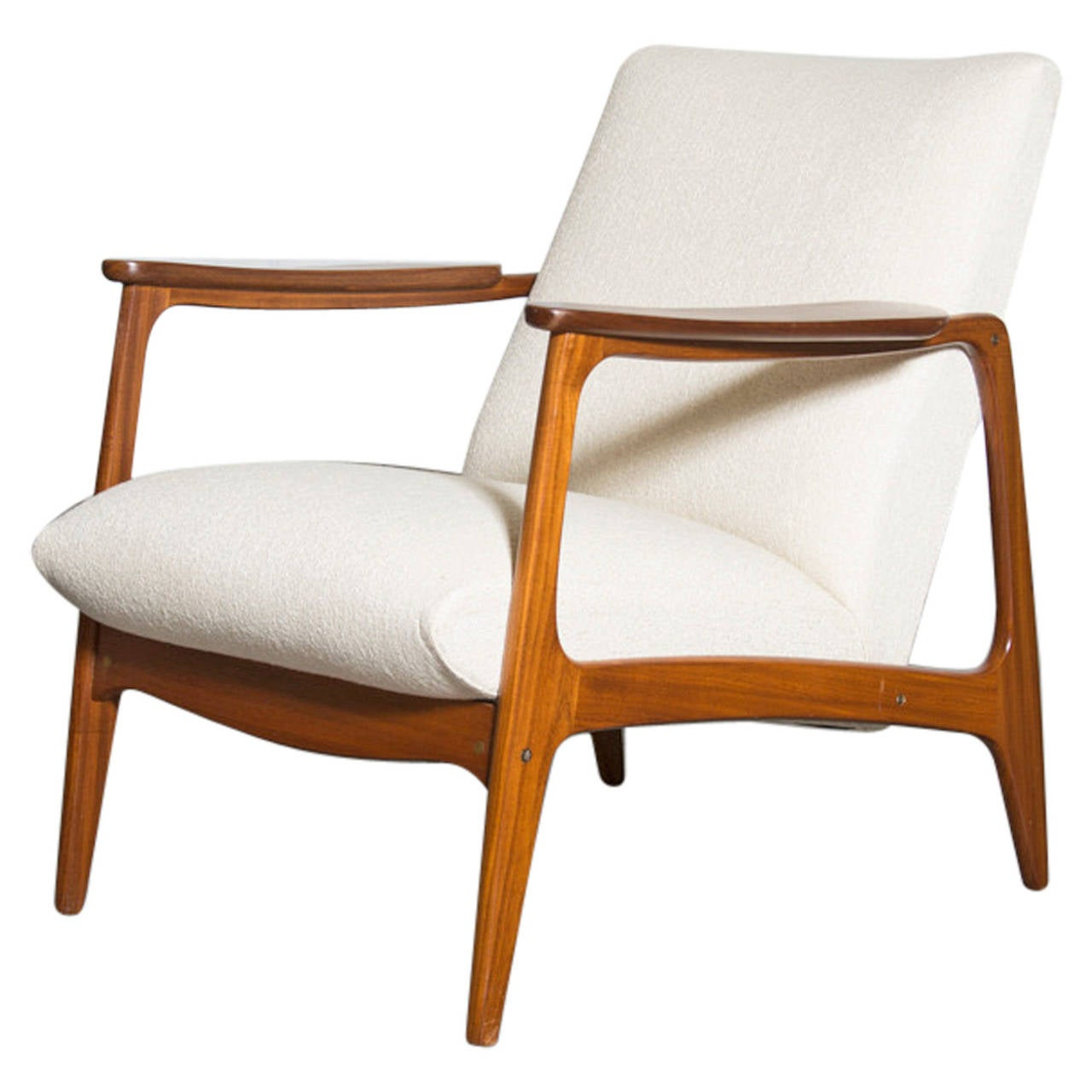 Mid century teak upholstered lounge chair at 1stdibs for Mid century modern upholstered chair