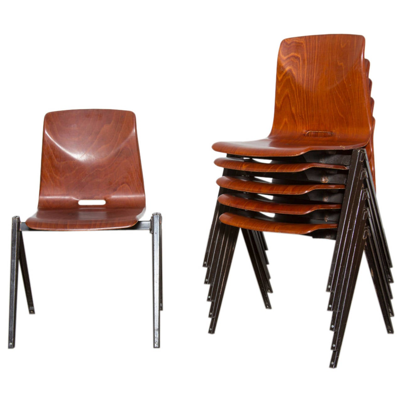 Prouve Style Single Shell Stacking Chair