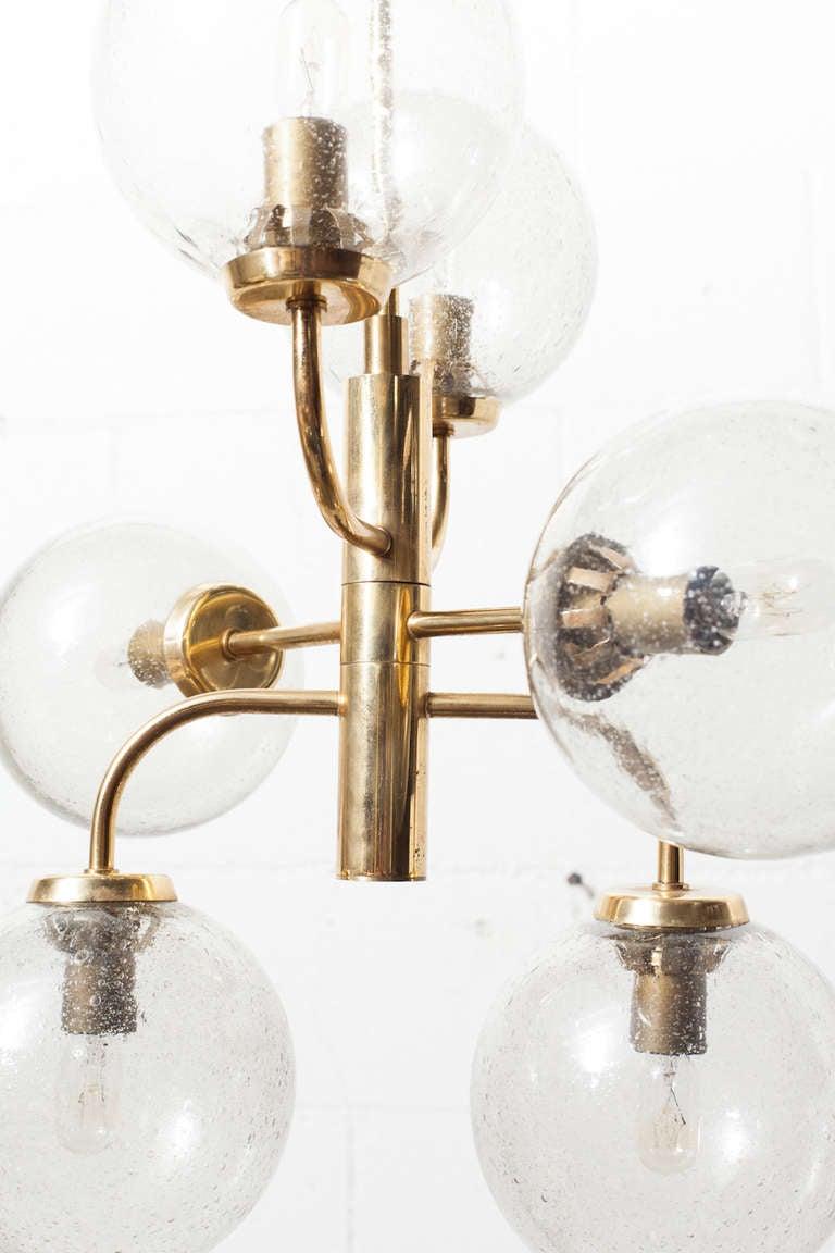 Stilnovo Style Mid-Century Blown Glass and Brass Globe ...