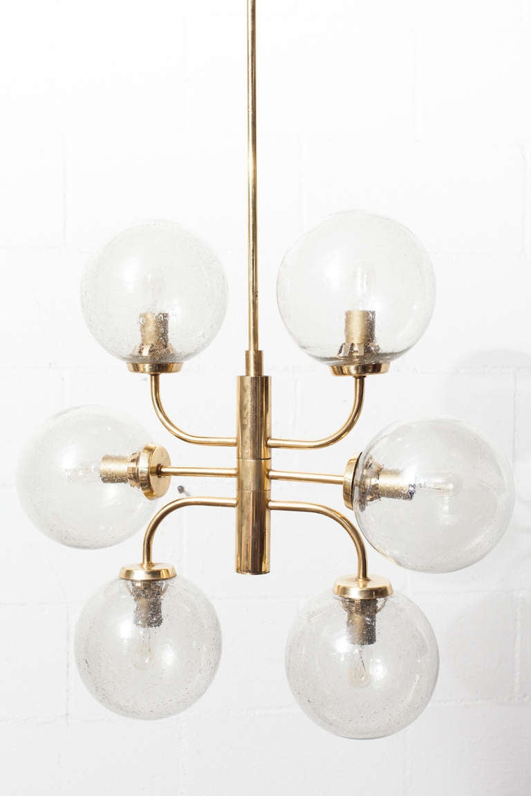 Stilnovo style mid century blown glass and brass globe Blown glass chandelier