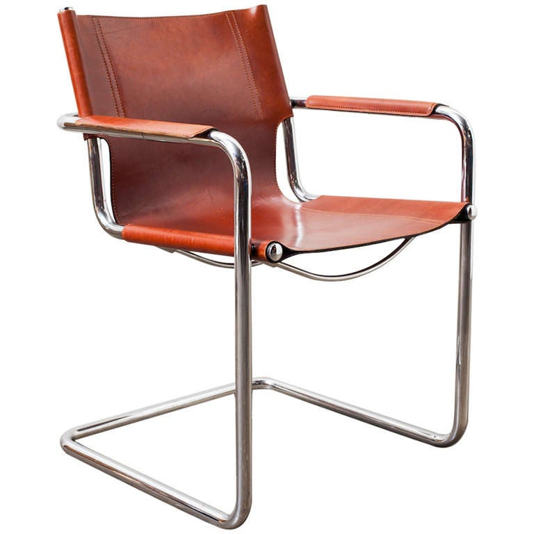 Matteo Grassi Visitor Chair In Cognac Leather At 1stdibs