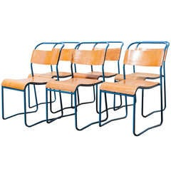 Industrial Metal and Plywood Stacking School Chairs