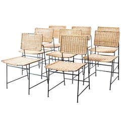 Herta-Maria Witzemann Rattan and Wire Dining Chairs
