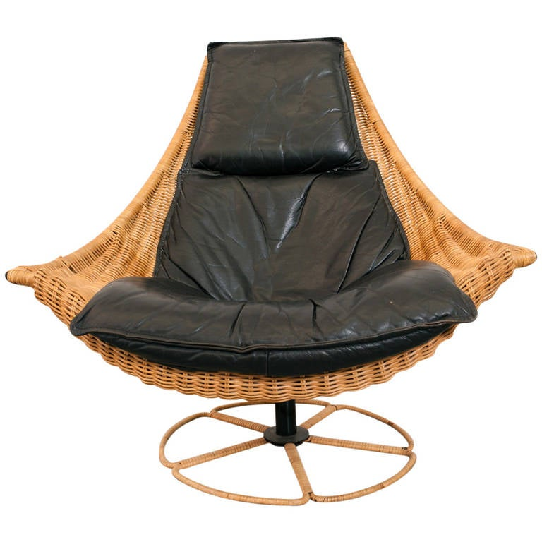Gerard Van Den Berg Leather And Rattan Swivel Chair For Sale