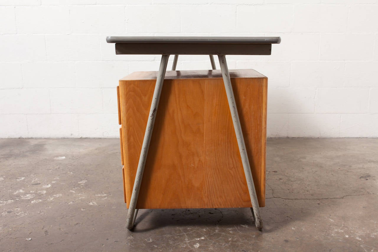 Original Condition Thick Tubular Chrome Frame Desk with Single Set of Birch Stacking Drawers. Very Organic Curved Shaping on the Legs. Enamel on Frame is Worn and Scratched.