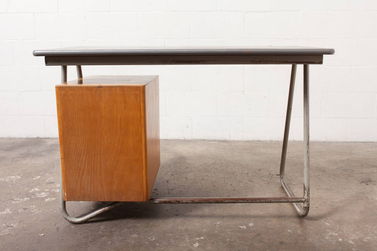 Mid-Century Modern Dutch Deco Style Tubular Desk with Birch Drawers For Sale