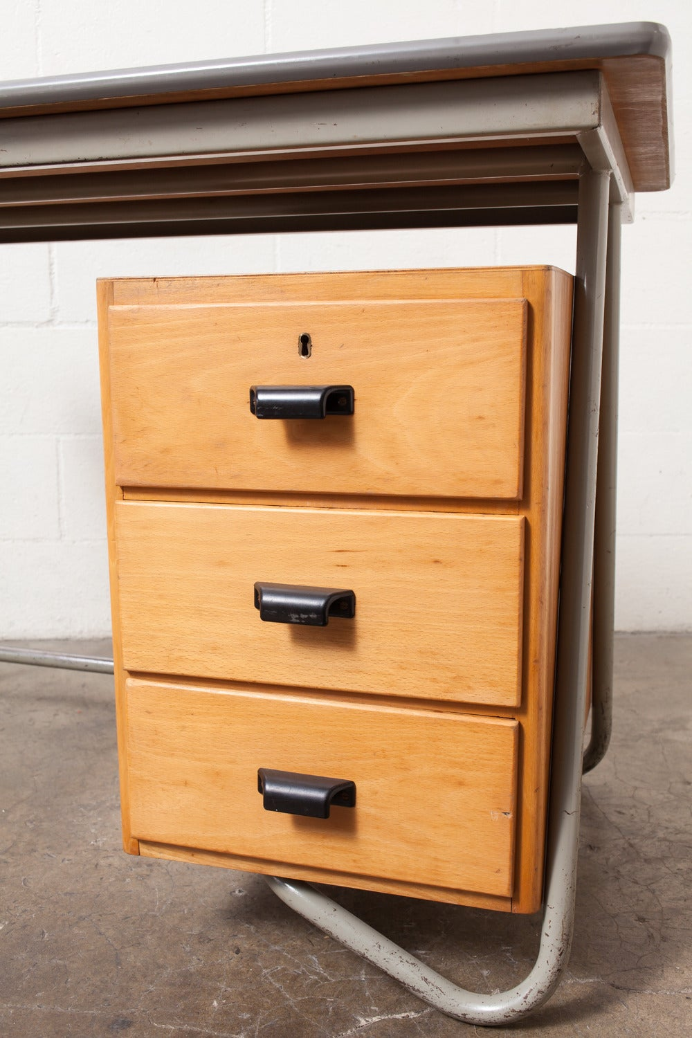 Dutch Deco Style Tubular Desk with Birch Drawers For Sale 3