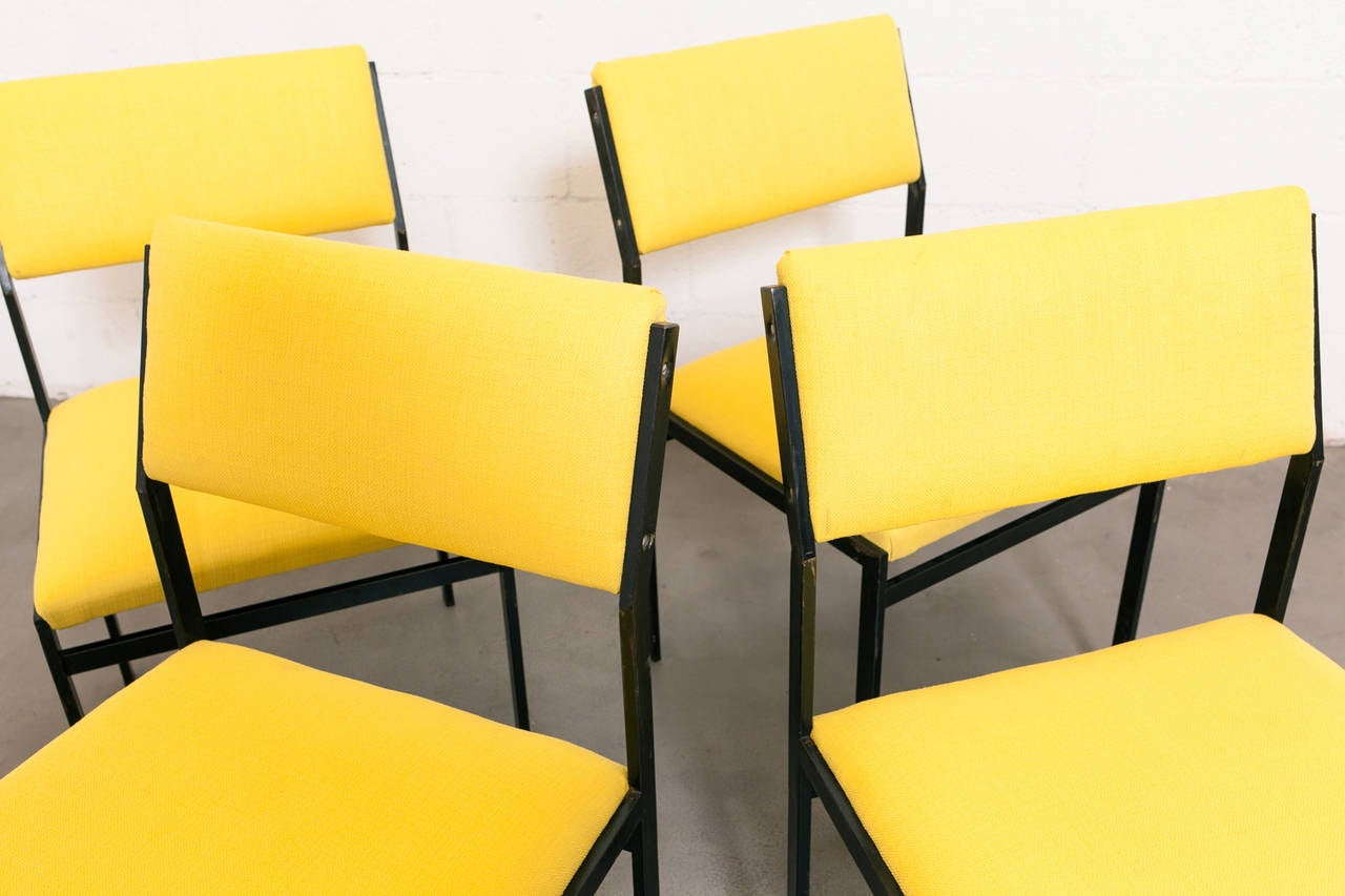 Japanese Series Black Enameled Metal Framed Dining in New Bright Sunshine Yellow Upholstery. Very Zen Low Seat Height. Set Price.