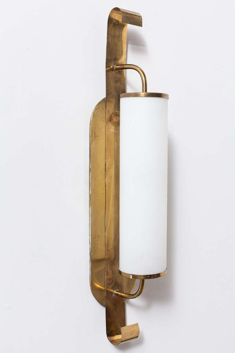 French Brass and Milk Glass Wall Sconce at 1stdibs