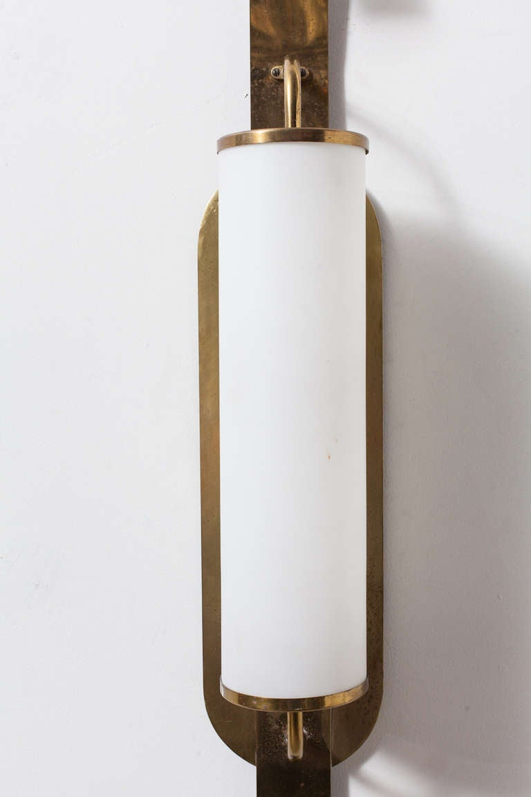 Milk Glass Wall Lamps : French Brass and Milk Glass Wall Sconce at 1stdibs