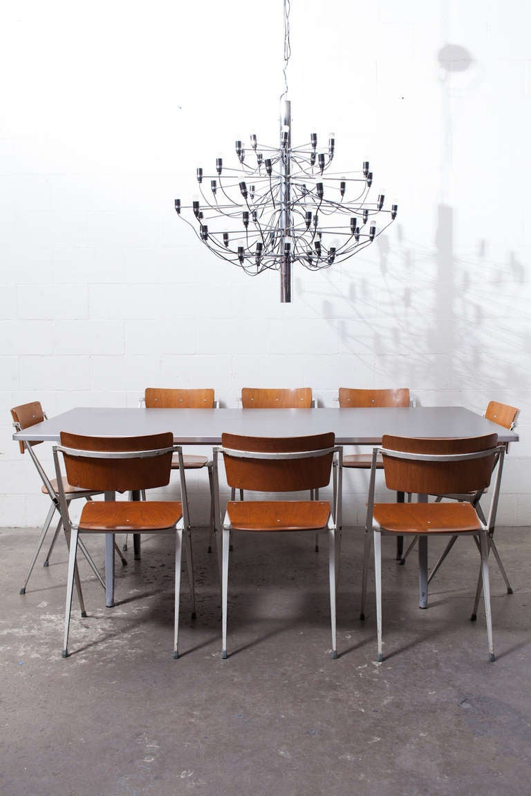 "Gino Sarfatti ""2097"" Chrome Chandelier In Good Condition For Sale In Los Angeles, CA"