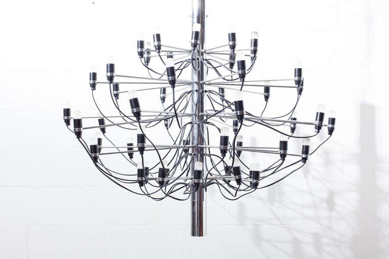 "Italian Gino Sarfatti ""2097"" Chrome Chandelier For Sale"