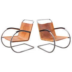 Pair of Bauhaus Style Leather and Chrome Lounge Chairs